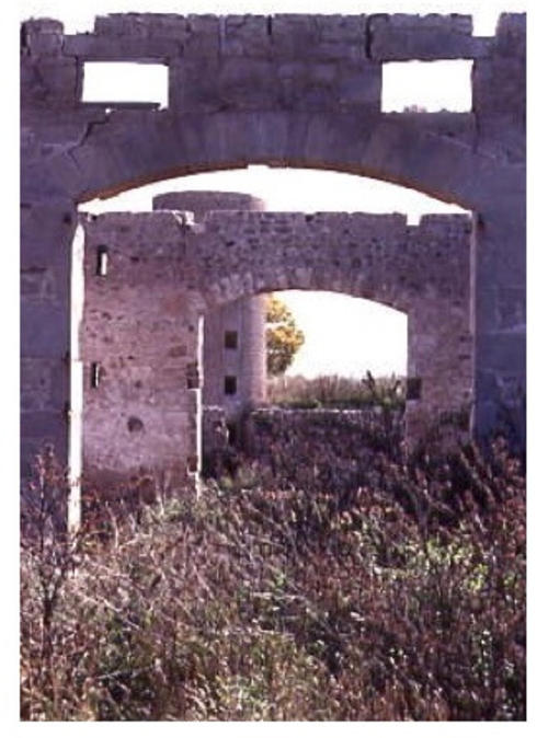 Two roofless stone arch doorways with silo behind, surrounded by grass