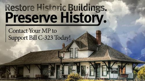 "A building called ""Fort Saskatchewan"" with words supporting history preservation and Bill C-323"
