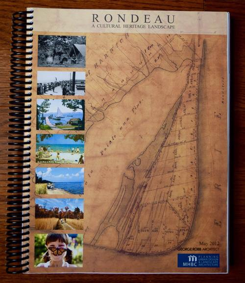 An aimage of the cover of the Rondeau Cultural Heritage Landscape study displaying images of the Park and a historic map
