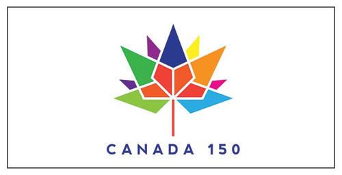 Canada 150 anniversary logo with colourful maple leaf