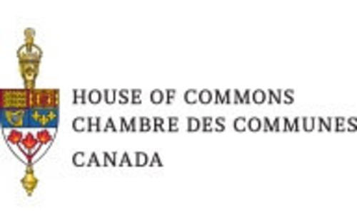 "A logo reading ""House of Commons, Chambre des Communes, Canada"" with the Canadian coat of arms"