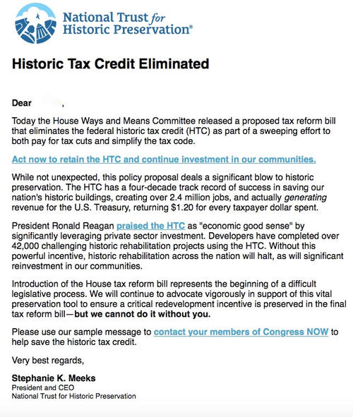 A letter from the President of the National Trust for Historic Preservation, Stephanie Meeks, promoting the Historic Tax Credit