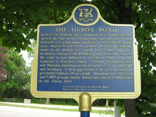 A plaque in Stratford explaining the history of the Huron Road