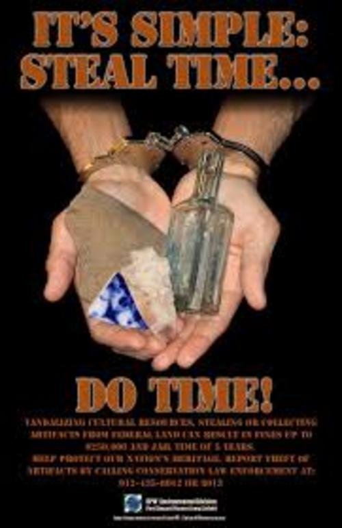 A poster-style image of hands holding artifacts while cuffed in handcuffs promoting the regulation of archaeologists working with licences