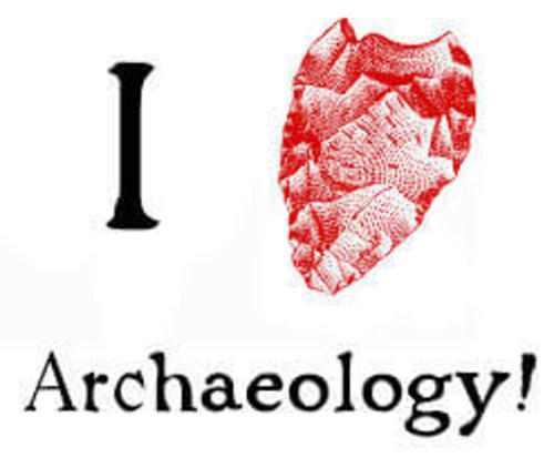 """An illustration of the words """"I love Archaeology!"""" but the heart, in the shape of a real heart, made of a drawing of mountains"""