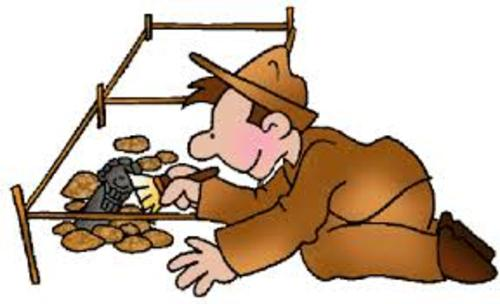 An illustration of an archaeologist working on an excavation dig site