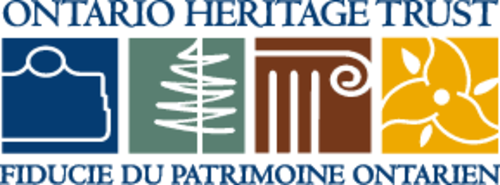 Ontario Heritage Trust logo with title and four icons including a blue plaque, a green tree symbol, a column symbol, and a trillium symbol