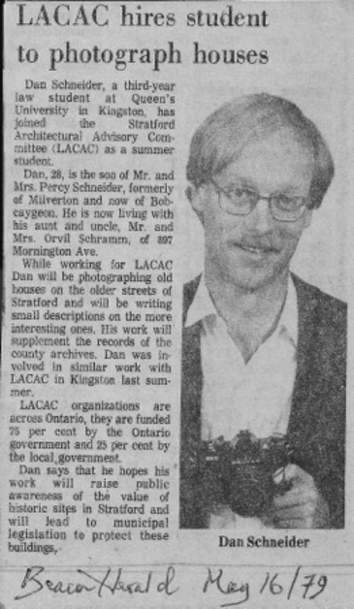 A newspaper clipping from 1979 written about Daniel Schneider joining the Stratford Architectural Advisory Committee as a summer student accompanied by a picture of Daniel Schneider