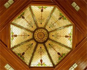 Stained glass dome on the ceiling.