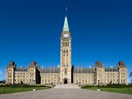The front of the parliament building in Ottawa, Ontario
