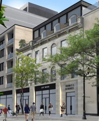 A rendering of a building facade facing a busy street of pedestrians