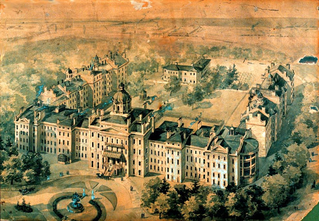 A painting of a huge lunatic asylum.