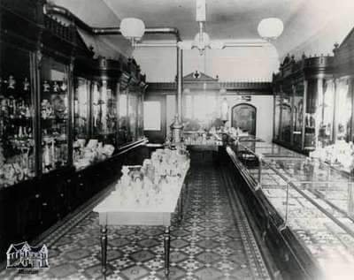 The inside of Andrews Jeweller store in the old days.