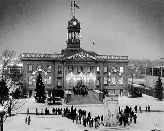 The old Kitchener town hall in black and white.