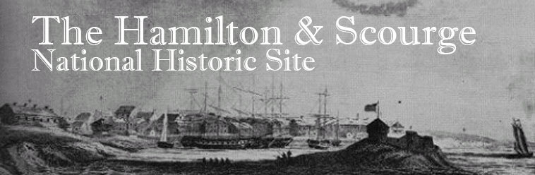 An illustration of ships coming to shore, written, The Hamilton & Scourge National Historic Site