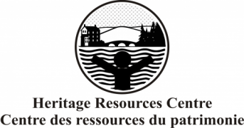 Heritage Resources Centre Logo: Person with arms open with bridge, trees and building in background