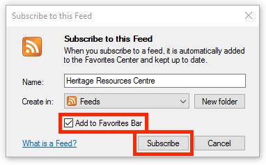 Subscribe to this Feed dialog.