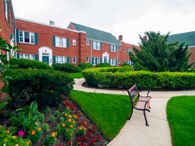 Low-rise garden apartment complex.