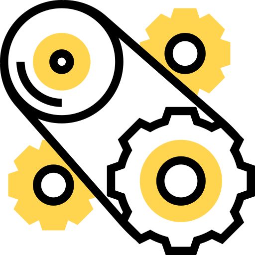 Illustration of gears turning a belt