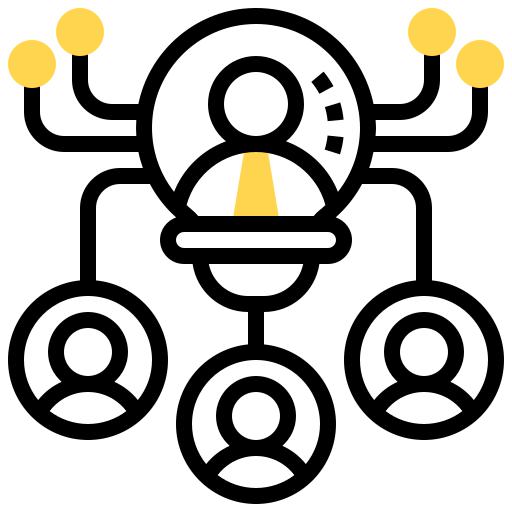 Illustration of someone networking and connecting with others