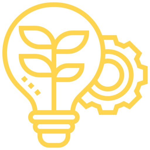 Illustration of a gear and lightbulb representing innovation