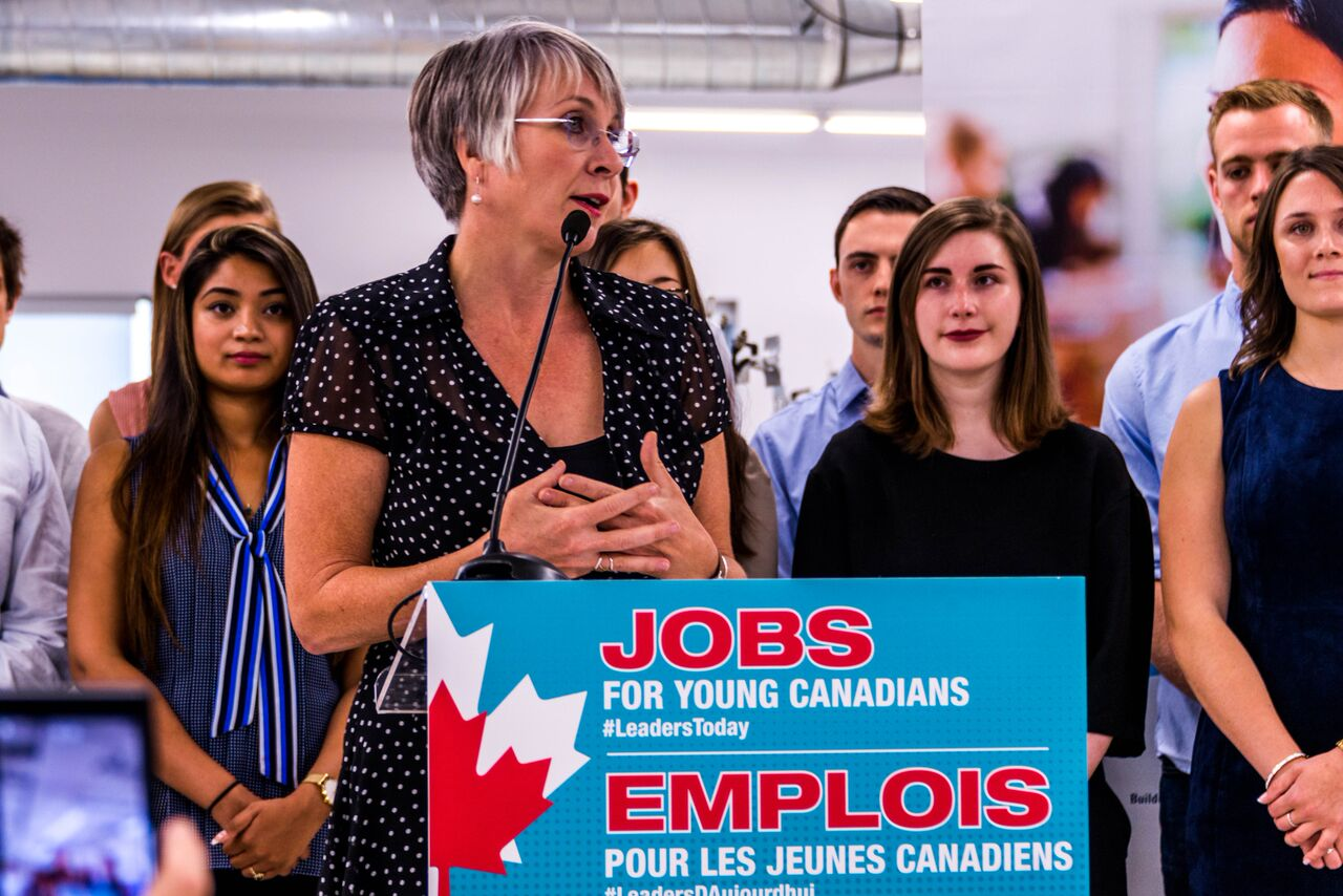 Honourable Patty Hajdu, Minister of Employment, Workforce Development and Labour makes a funding announcement at Synaptive Medical during an event hosted by BioTalent Canada