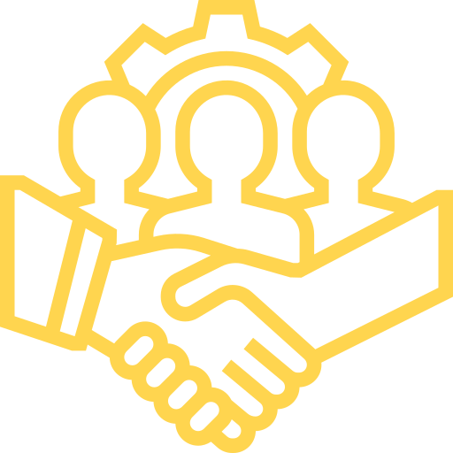 Illustration of an students standing behind a handshake