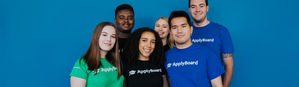 Applyboard co-op students wearing applyboard t-shirts