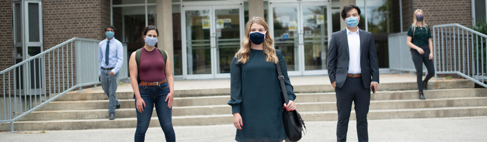 Students on Waterloo Campus Wearing masks