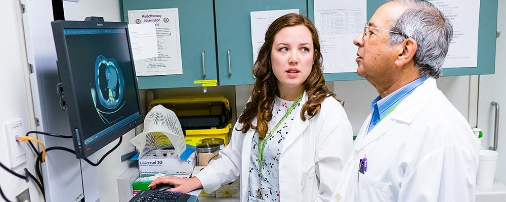 Rachel McDonald talking to doctor