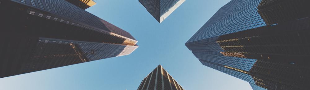 Upward view of buildings/cityscape