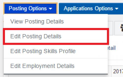 Job posting options in WaterlooWorks