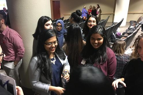 Students mingle at the Dovetale thank you event