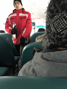 Bus captain speaks to passengers