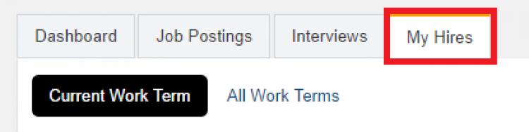 My hires tab of WaterlooWorks
