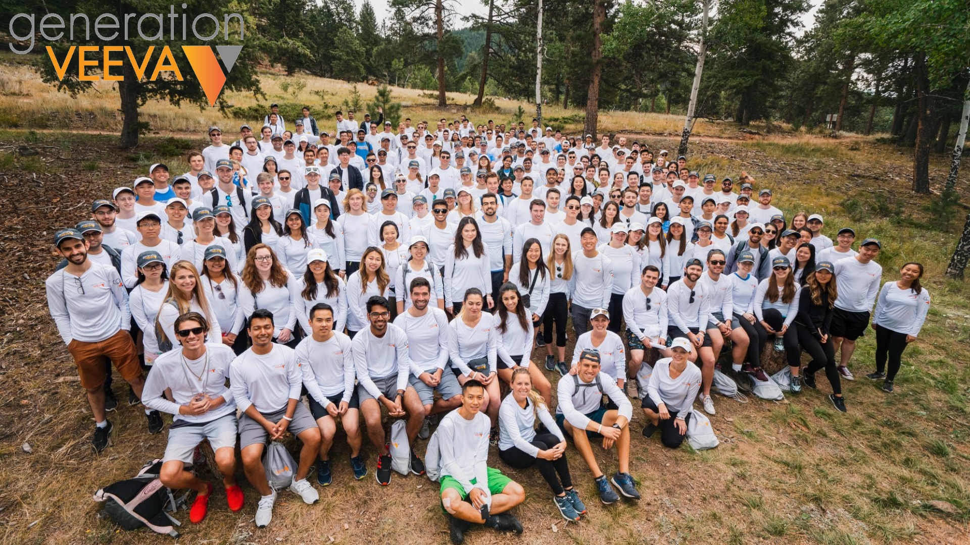 Group shot of Veeva co-op students and employees at a retreat