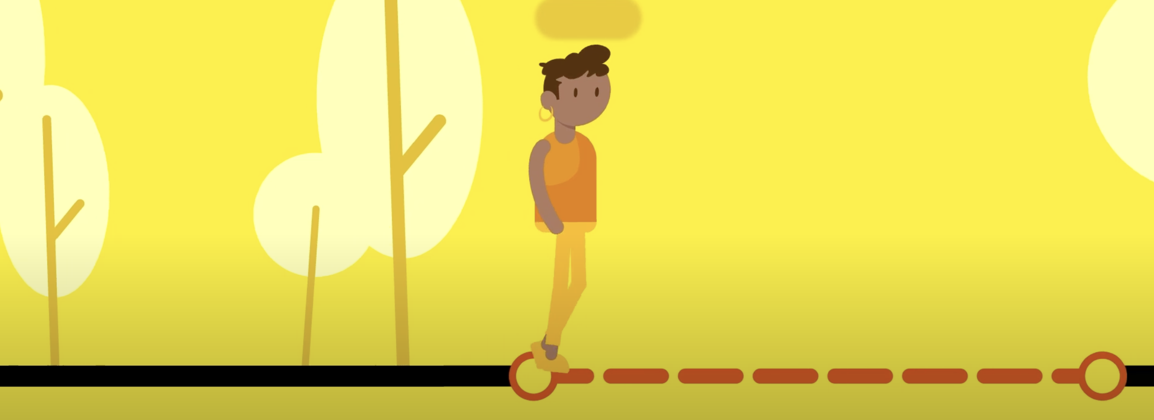 Illustration of a student walking along a path