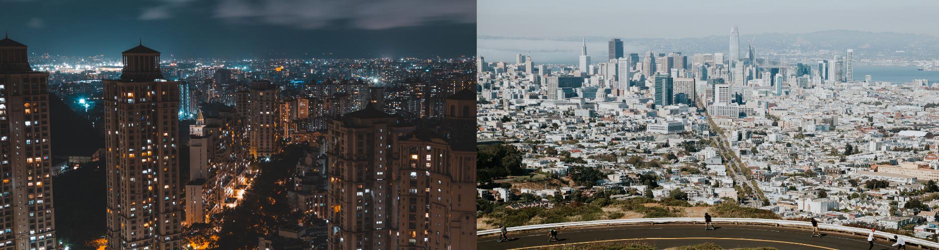 Mumbai, India at night verses San Jose, California during the day