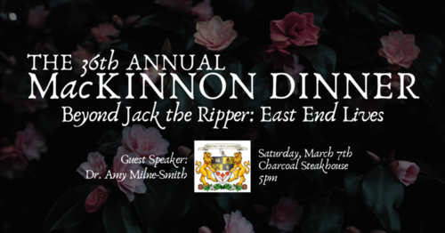 MacKinnon Dinner promo picture including sombre roses as background