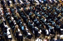 Rows of graduating students at convocation