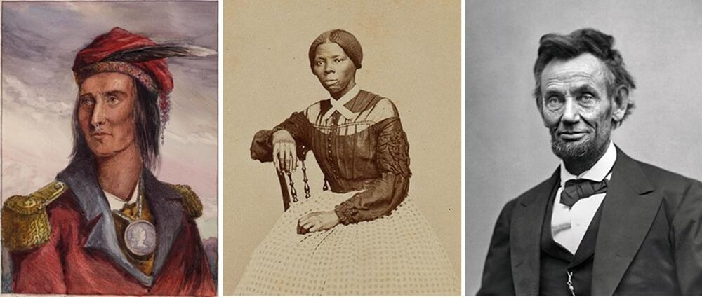 Portraits of Harriet Tubman and Abraham Lincoln