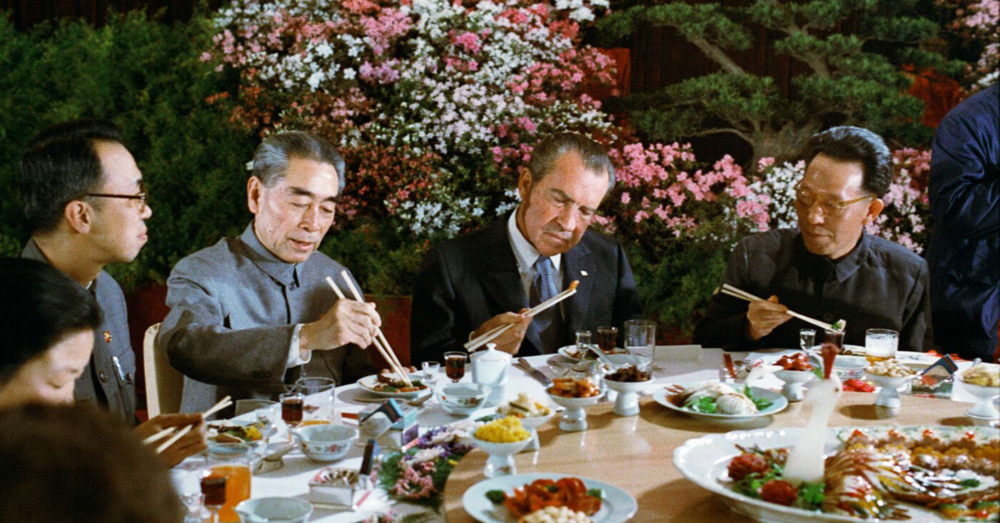 Former President Nixon dining with Japanese government officials