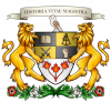 History crest with two lions holding a shield.