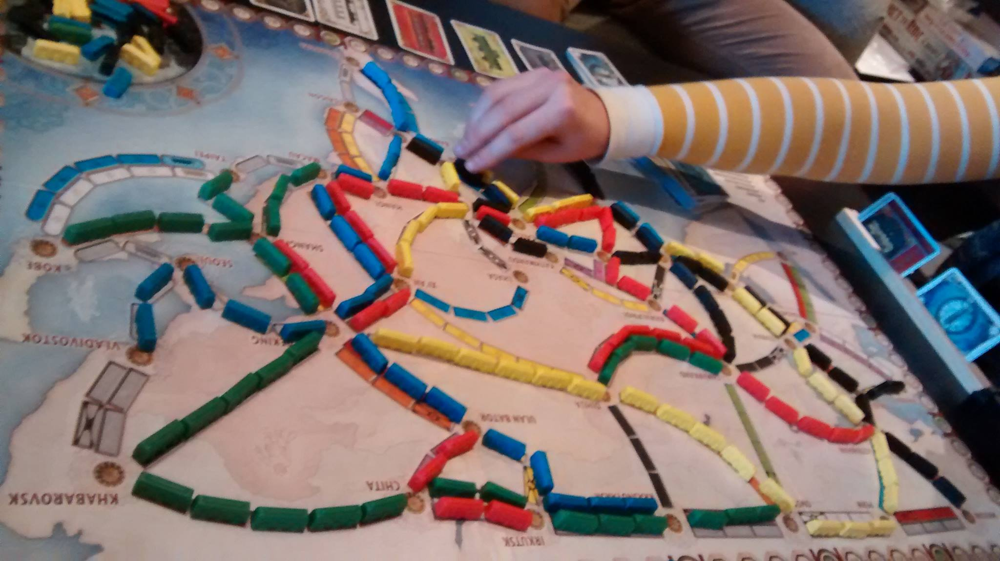 Placing a train in Ticket to Ride