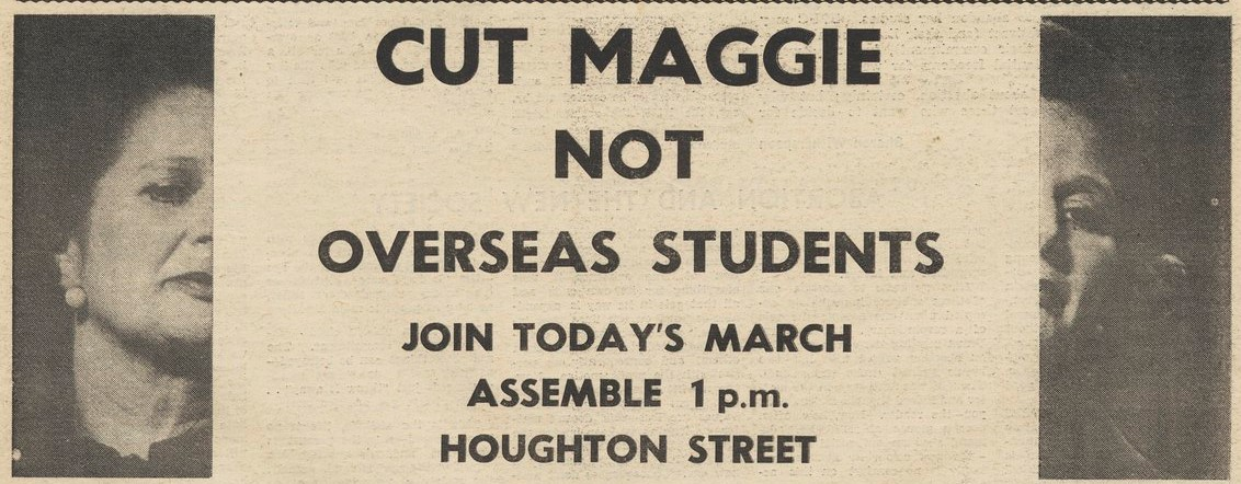 "Flyer for ""Cut Maggie not Overseas Students"""