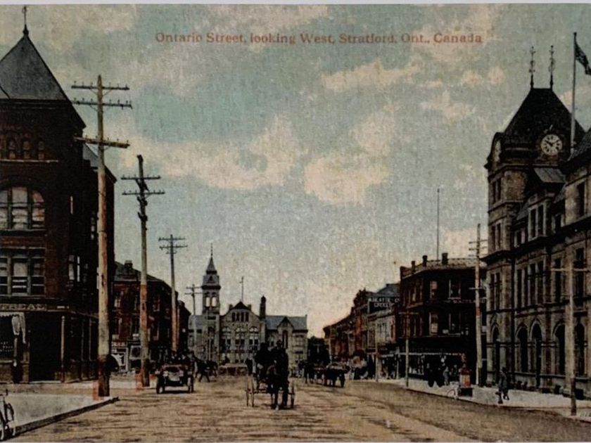 This postcard image from 1914 shows Ontario Street in Stratford, Ontario, facing west