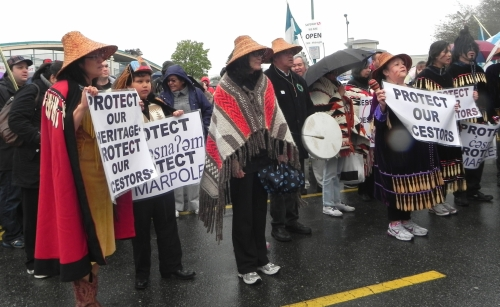 Musqueam First Nation protesting for the preservation of the ancient Marpole Village burial site