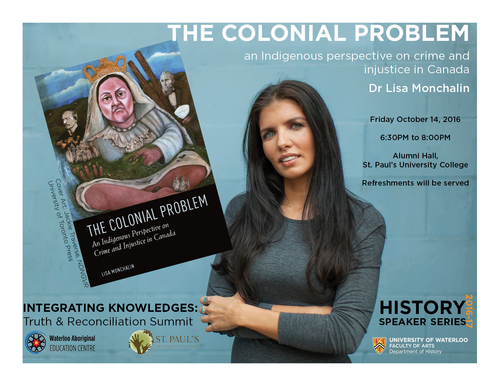 Dr Lisa Monchalin and the cover 'The Colonial Problem'