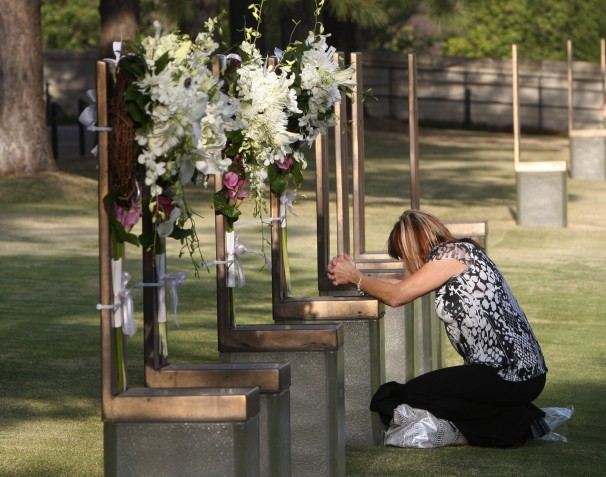 A mourner at the Oklahoma City Bombing memorial