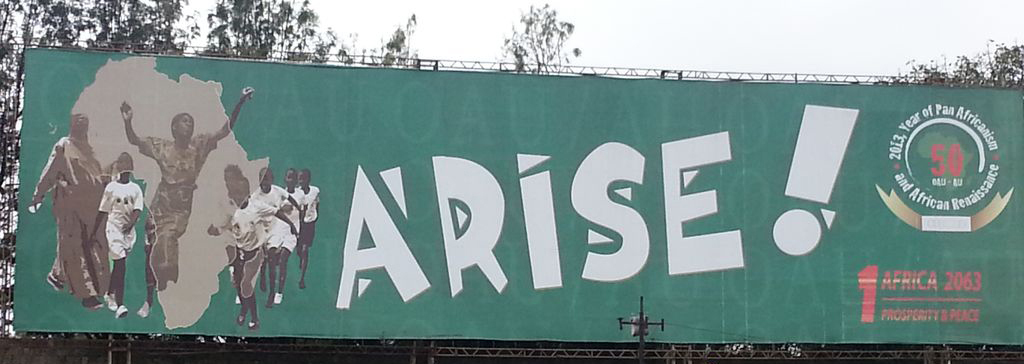 Billboard with slogan 'Arise!', Ethiopia